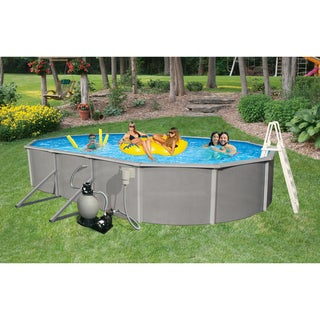 Belize Oval 52-inch Deep, 6-inch Top Rail Metal Wall Swimming Pool Package