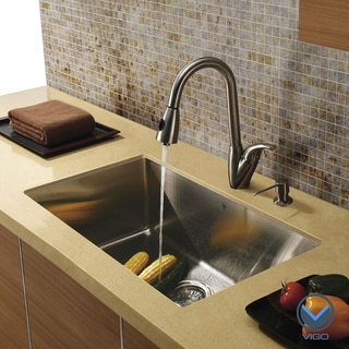 Vigo Undermount Stainless Steel Kitchen Sink/ Faucet/ Dispenser