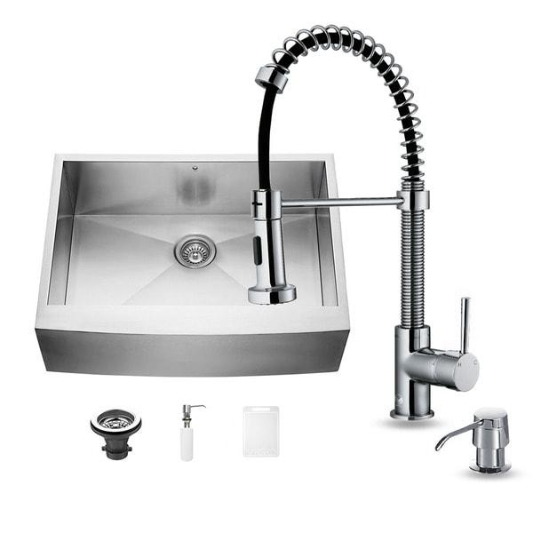 Vigo Farmhouse Stainless Steel Kitchen Sink, Chrome Faucet and Dispenser