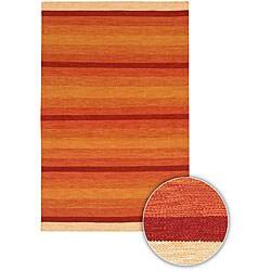 Hand-woven Flat-weave Mandara Wool Rug (5'9 Round)