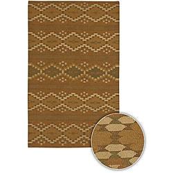 Hand-woven Mandara Brown Wool Rug (5'9 Round)