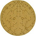 "Transitional Handwoven Mandara Flat-Weave Gold Wool Rug (5'9"" Round)"