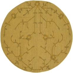 Artist's Loom Handmade Flatweave Transitional Floral Wool Rug (7'9 Round)