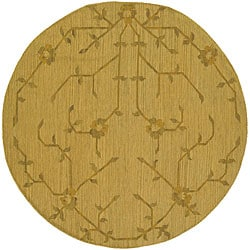 Handwoven Mandara Flatweave Gold Oriental Wool Rug (7'9 Round)