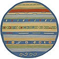Hand-woven Mandara Flat-weave Gold Wool Rug (5'9 Round)