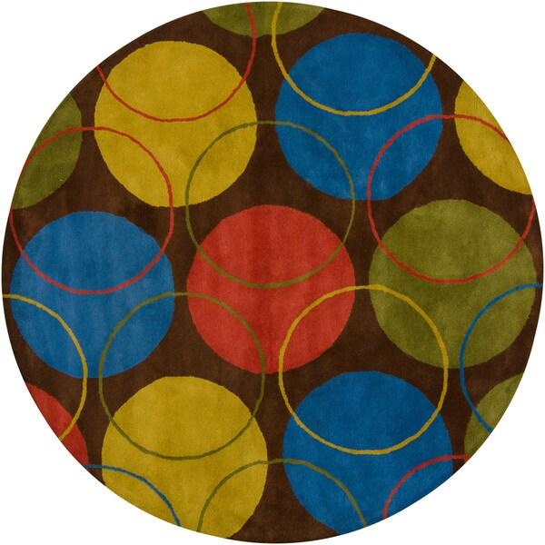 Hand-Tufted Abstract Mandara Wool Rug (7'9 Round)