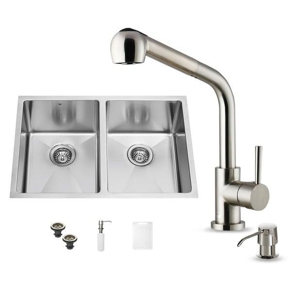 Vigo Double Bowl Undermount Stainless Steel Kitchen Sink