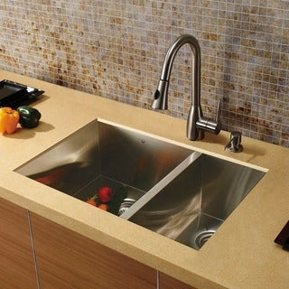 Vigo Corrosion-Resistant Undermount Stainless-Steel Kitchen Sink, Faucet and Dispenser