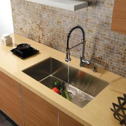 Vigo Undermount Fully Undercoated Stainless-Steel Kitchen Sink, Faucet and Dispenser