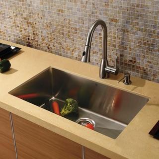Vigo Undermount Stainless Steel Kitchen Sink, Faucet/Dispenser