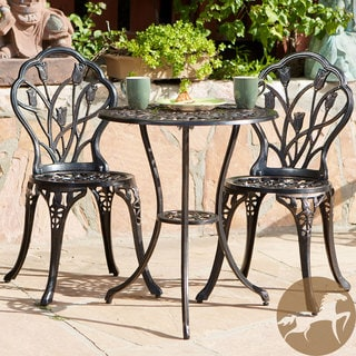 Christopher Knight Home Nassau Cast Aluminum Outdoor Bistro Furniture Set