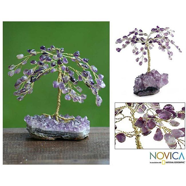 Brass 'Amethyst Leaves' Gemstone Tree (Brazil)