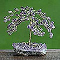 Brass 'Amethyst Leaves' Gemstone Tree (Brazil)