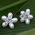 Sterling Silver 'Ice Flower' Pearl Button Earrings (Thailand)