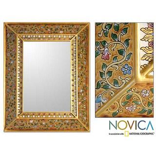 'Flowers on Gold' Cedar Mirror (Peru)