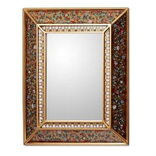 'Flowers on Gold' Cedar Mirror (Peru)