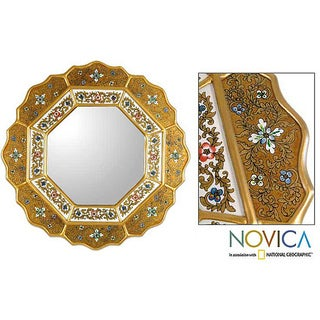 'Golden Star' Painted Glass Mirror (Peru)