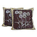 Set of Two 'Quiet Dandelions' Silk and Cotton Cushion Covers (Thailand)