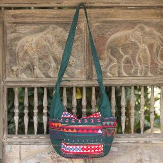 Cotton 'Hill Tribe Carnival' Shoulder Bag (Thailand)