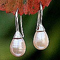 Sterling Silver 'Rosebud' Pearl Dangle Earrings (Thailand)