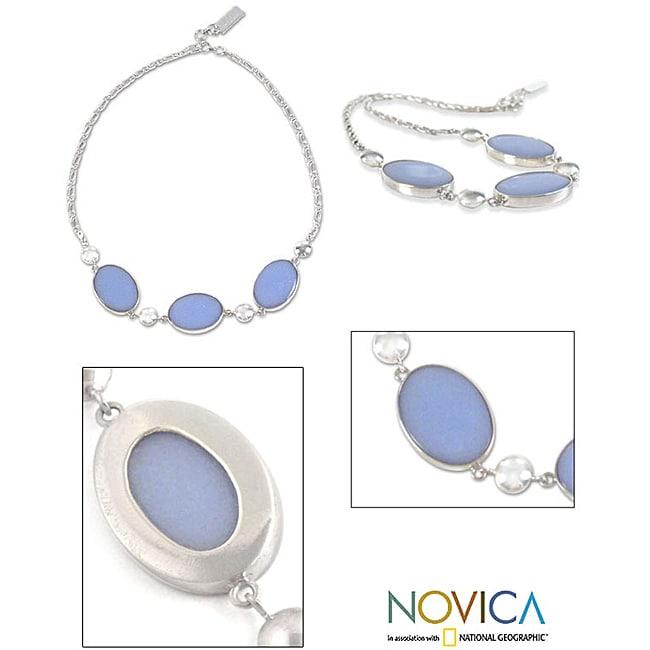 Silver 'Heavenly Sky' Angelite Necklace (Peru)