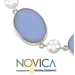 Silver 'Heavenly Sky' Angelite Necklace (Peru)