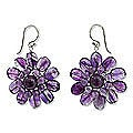 Sterling Silver 'Chrysanthemum' Amethyst Floral Earrings (Thailand)