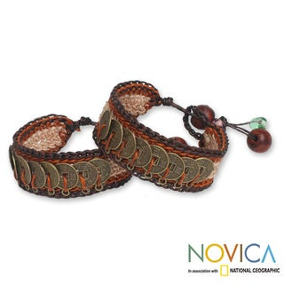 'Coins of The Earth' Beaded Wristband Bracelets (Set of 2) (Thailand)