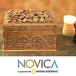 Walnut Wood 'Rampant Nature' Jewelry Box (India)