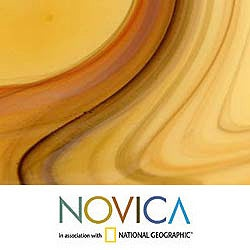Hand-blown 'Amber Vortex' Murano Centerpiece (Brazil)