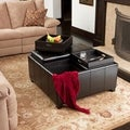 Christopher Knight Home Dartmouth Four Sectioned Black Bonded Leather Cube Storage Ottoman
