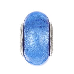 Signature Moments Sterling Silver Blue Murano Glass Bead