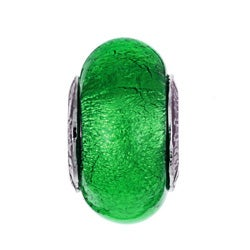 Signature Moments Sterling Silver Green Murano Glass Bead