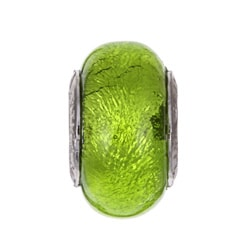 Sterling Essentials Sterling Silver Lime Green Murano Bead