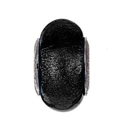 Sterling Essentials Sterling Silver Black Murano Glass Bead
