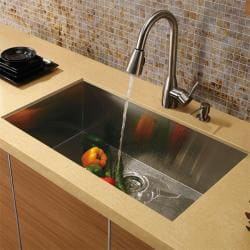 Durable Vigo Undermount Stainless-Steel Kitchen Sink, Faucet and Dispenser