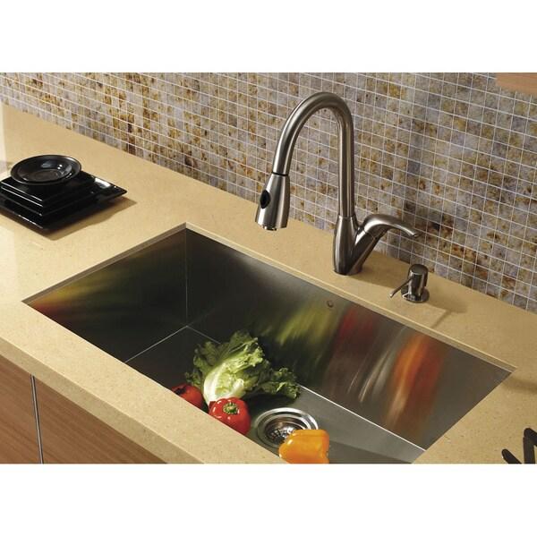 Vigo Undermount Stainless-Steel Swivel Kitchen Sink Faucet/Dispenser