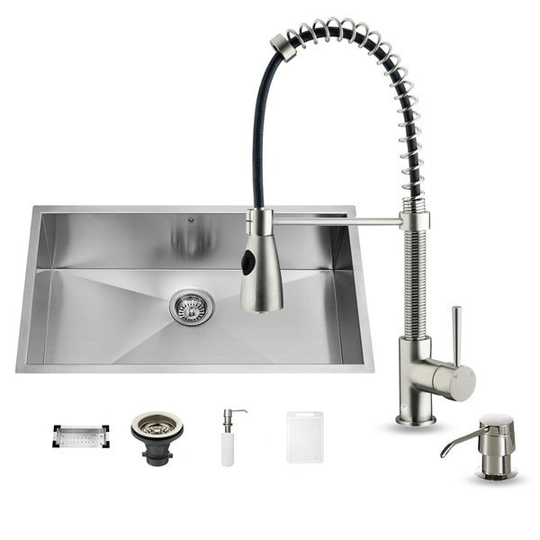 Vigo Undermount Stainless Steel Kitchen Sink Set Overstock Shopping Big Discounts On Vigo