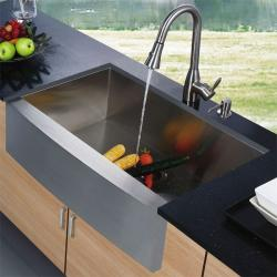 Vigo Farmhouse Stainless Steel Kitchen Sink Faucet/Dispenser