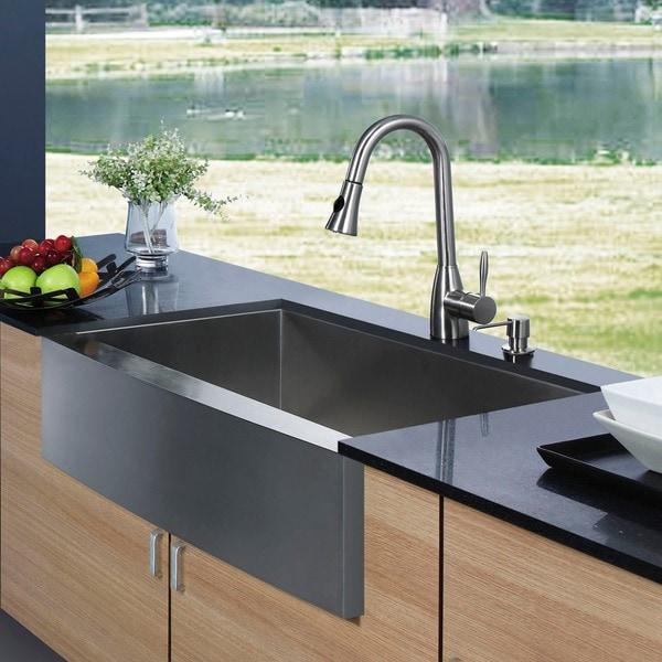 Vigo Farmhouse Stainless Steel Kitchen Sink Faucet/Dispenser (6565529 ...