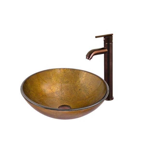 VIGO Branco Glass Vessel Sink and Faucet Set in Oil Rubbed Bronze