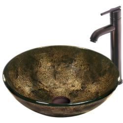 VIGO Sintra Glass Vessel Sink and Faucet Set in Oil Rubbed Bronze