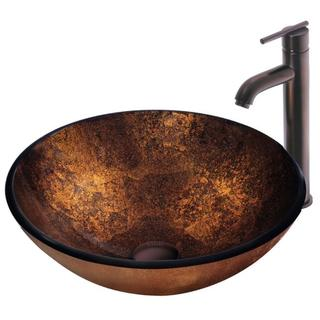 VIGO Russet Above-Counter Glass Vessel Sink and Faucet Set in Oil-Rubbed Bronze