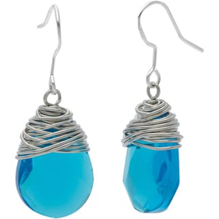 Silver Wrapped Blue Raindrop Earrings (China)