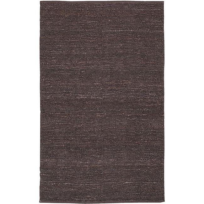 Hand-woven Chapra Purple Jute Rug (2' x 3')