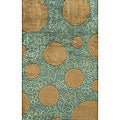 Hand-tufted New Wave Green Wool Rug (7'6 x 9'6)