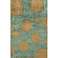 Hand-tufted New Wave Green Wool Rug (8' x 11')