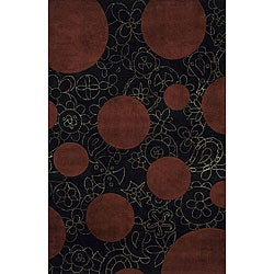 Hand-tufted New Wave Black Wool Rug (8' x 11')
