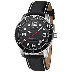 Golana Swiss Men's 'Aqua Pro 200' Steel Case Leather Strap Watch