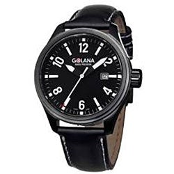 Golana Swiss Men's 'Terra Pro 100' Steel and Leather Quartz Watch
